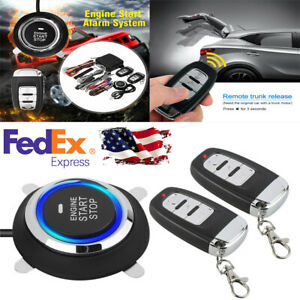 Car Keyless Entry Push Button Remote Kit Alarm Start Security System Usa Ship