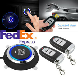 Car Start Push Button Remote Starter Keyless Entry Kit For One Button Vehicle