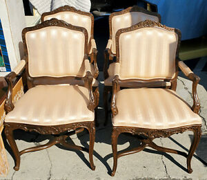 Vintage 1980 S Baker Furniture French Style Armchairs Set Of 4