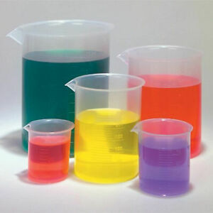 Labs Plastic Beakers Set Measuring Cups 5 Sizes 50 100 250 500 And 1000ml