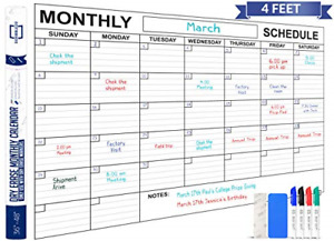 Jumbo Dry Erase Monthly Wall Calendar 48 X 36 Large Reusable Schedule Planner