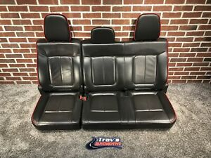 09 14 Ford F 150 Fx4 Rear Oem Leather 60 40 Bench Seat Black W Red Piping Nice