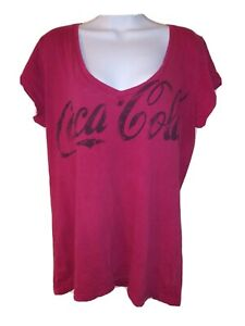 COCA-COLA VINTAGE Size XL Women's Red V-Neck Stretchy Logo T-Shirt 100% Cotton