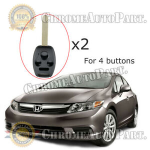 2pc Uncut Remote Key Fob Shell Case Replacement For 03 13 Honda Civic Accord Crv