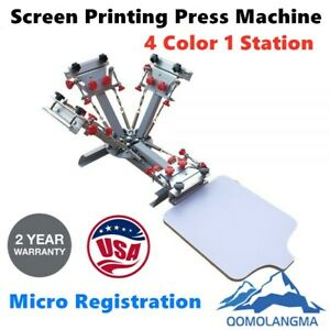 4 Color T shirt Silk Screen Printing Press Machine With Micro Registration