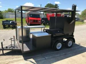 Bbq Cooker Smoker Wood Fired Concession Trailer Hand Wash Sink Stove Side Grill
