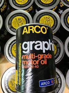 Vintage Arco Graphite Motor Oil 1 Quart Can 44 yrs. Never Opened 10W-40 Graphite