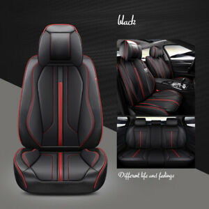 Us Luxury Pu Leather Car Seat Covers Front Rear Full Set For 5 Seats Suv Truck