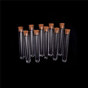 Plastic Test Tube With Cork Vial Sample Container Bottle 10pcs lot