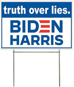 18x12 Inch Truth Over Lies Biden Harris Yard Sign With Stake Bb1s