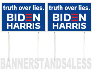 8x12 Inch Truth Over Lies Biden Harris Yard Sign With Stake Bb 2 Pack