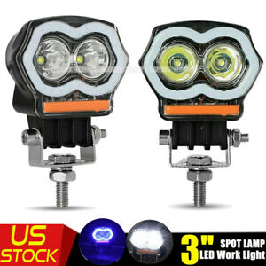 2pcs 3 Inch Led Work Light Spot Lamp Fog Pods Blue Drl Off Road Car Motorcycle