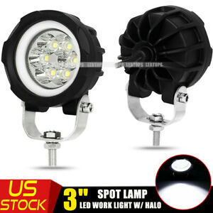 2x 3inch Round White Angel Eye Halo Led Projector Fog Cube Light 4x4 Atv Car 4wd