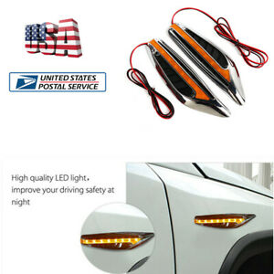 2x Yellow Blade Car Led Steering Turn Signal Lights Fender Side Lights Universal