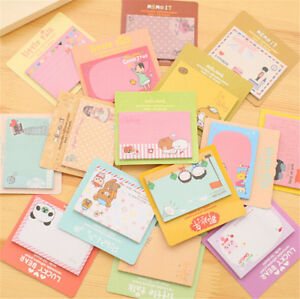 2pc Cute Cartoon Animal Sticky Note Memo Pad Notebook Label Stationery Gift Se