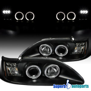 For 1994 1998 Ford Mustang Led Dual Halo Projector Headlights Black
