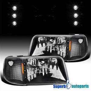 For 1993 1997 Ford 93 97 Ranger 2in1 Black Headlights Corner Signal Lamp Led Bar