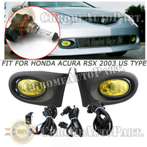 For 2002 2003 2004 Acura Rsx Yellow Bumper Driving Fog Lights Lamp W Switch Wire