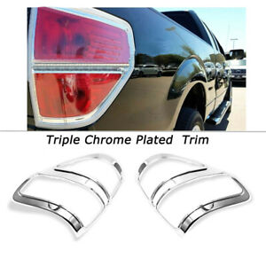 Fit 2009 2011 2012 2013 2014 Ford F 150 F150 Chrome Tail Light Bezel Cover Trim