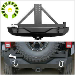 Powder Coated Rear Bumper For 07 18 Jeep Wrangler Jk W Tire Carrier Hardware