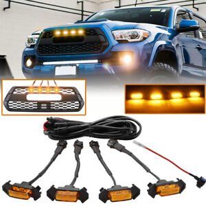4pcs Led Amber Grille Lights Yellow For Toyota Tacoma Trd Pro 2016 2018 2020 Ea