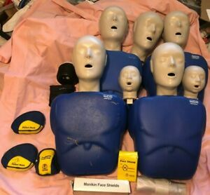 Lot Of 4 Adult Cpr Prompt Training Manikins Complient W Case Mask Baby Heads