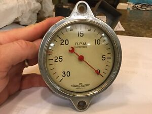 Stewart Warner Mechanical Curved Glass White Faced 3500 Rpm Script Tachometer