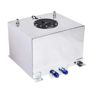 8 Gallon Fuel Cell Tank W Sender Polished Aluminum Silver Universal