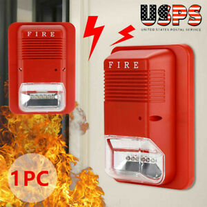 Sound Light Alert Safety System Sensor Fire Alarm Warning Strobe Siren Horn Us