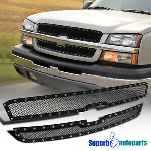 For 2003 2005 Silverado 2003 2006 Avalanche Hood Grille Insert X2 Rivet Style