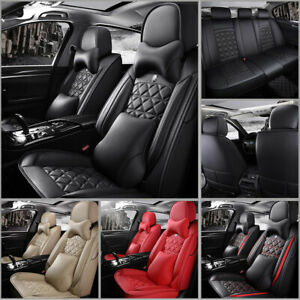 Pu Leather Car 5 Seat Covers Front Rear Set Universal 5 Seats Car Suv Truck Us