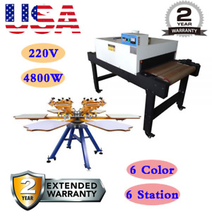 Usa 6 Color 6 Station Screen Printing Machine 220v 4800w Conveyor Tunnel Dryer