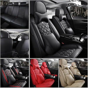 Luxury Car Seat Covers Pu Leather Front Rear Full Wrap Set 5 seats Car Suv Truck