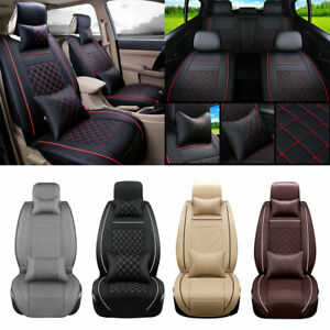 Universal Car Seat Covers Luxury Leather 5 seats Full Wrap Front Rear Set Decor