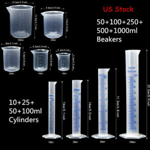 Lab Plasticware Set 4 Clear Plastic Graduated Cylinders With 5 Beakers 1 Brush