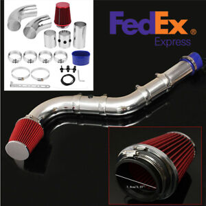 Universal Aluminum 3 Car Induction Air Filter Hose System Turbo Intake Pipe Kit