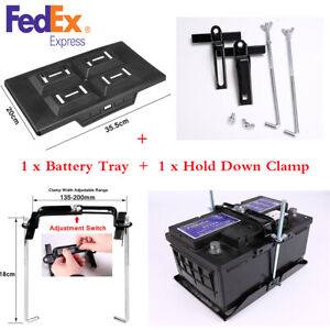 Universal Black Car Auto Battery Tray Adjustable Hold Down Clamp Bracket Kit