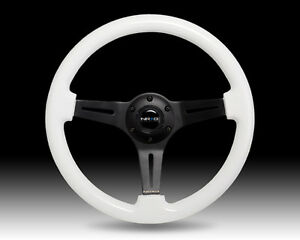 Nrg White Wood Grain Steering Wheel Black Center 3 spoke 350mm Glow In The Dark
