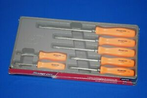 New Snap on Tools 7 Piece Orange Combination Screwdriver Set Sddx70ao