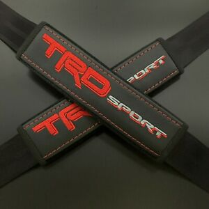 Trd Sport Black Seat Belt Covers Pads Multicolor Embroidery 2pcs