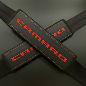 Chevrolet Camaro Black Seat Belt Covers Pads Red Embroidery 2pcs