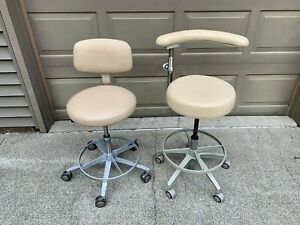 Pair Of Dental Adec Doctor Pelton Crane Assistant Leather Stools Nice