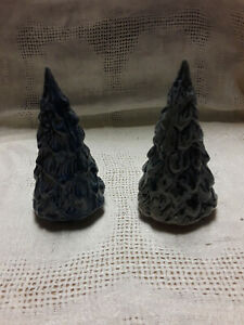 Rowe Pottery Small Trees Set of 2 Blue Grey