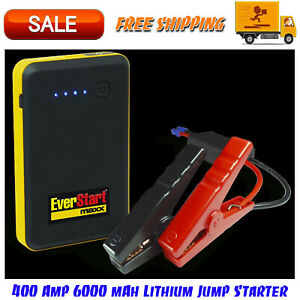 400 Amp 6000 Mah Lithium Jump Starter W Smart Cable Clamps Usb Charging Cable