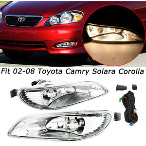 For 2005 2008 Toyota Corolla Bumper Lamp Clear Fog Lights Pair Switch Wiring Kit