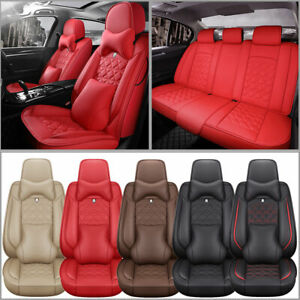 Luxury Car 5 Seat Cover Suv Truck Breathable Leather Front Rear Full Set Cushion