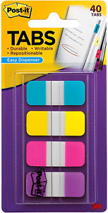 Post it Tabs 625 In Solid Aqua Yellow Pink Violet Durable Writable 5 8 X