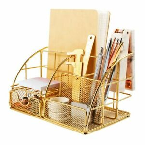 Glossy Gold Desk Organizer With Drawer Pen Holder Office Accessories For Women