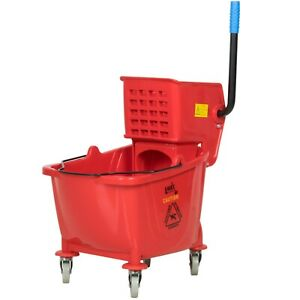 Janitorial 35 Qt Red Mop Bucket With Wheels And Side Press Wringer Combo