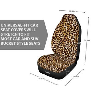 2pcs Seat Cover Front Leopard Print For Car Truck Suv Four Seasons Fit Washable